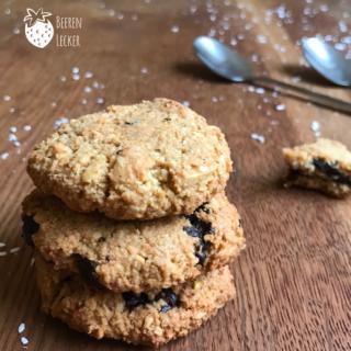 Vegane Mandel Schoko Kekse ohne Mehl und raffinierten Zucker